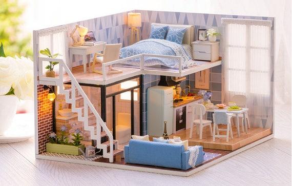 Diy Doppelstockwagen Raum Miniatur Loft Zimmer Mit Lichter Etsy