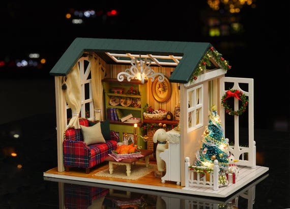 Diy Dollhouse Kit With Light And Music Merry Christmas Diy Etsy