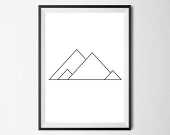 Mountains Print, Minimal, Home Decor, Home Print, Scandinavian print, Monochrome print, Wall Art, Absract print, Geometric Print