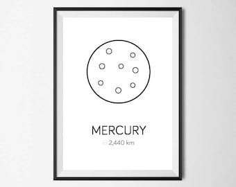 Planet Mercury Print, Minimal, Home Decor, Home Print, Scandinavian print, Monochrome print, Wall Art, Absract print, Geometric Print