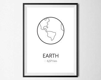 Planet Earth Print, Minimal, Home Decor, Home Print, Scandinavian print, Monochrome print, Wall Art, Absract print, Geometric Print