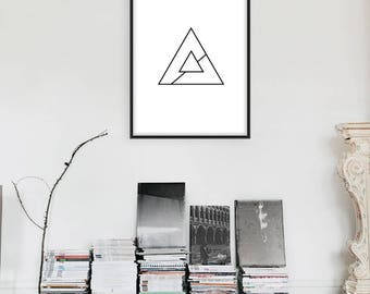 Triangle Print, Minimal, Home Decor, Home Print, Scandinavian print, Monochrome print, Wall Art, Absract print, Geometric Print
