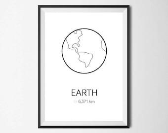 Planet Print Set, Minimal, Home Decor, Home Print, Scandinavian print, Monochrome print, Wall Art, Absract print, Geometric Print