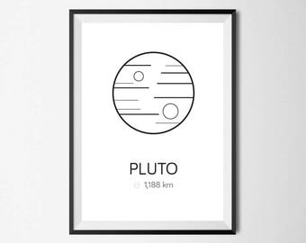 Planet Pluto Print, Minimal, Home Decor, Home Print, Scandinavian print, Monochrome print, Wall Art, Absract print, Geometric Print