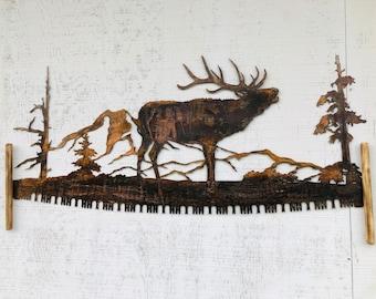 Rustic copper coated elk crosscut saw wall decor