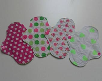 Set of 4 covers slip washable Fuchsia and green