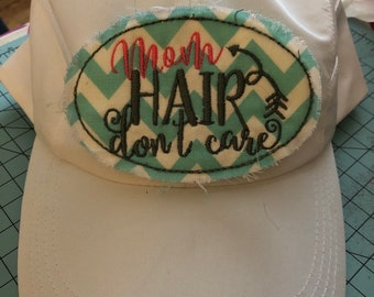 6bbd1c0385879 Embroidery baseball hats mom hair dont care