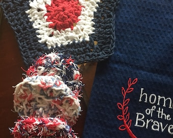 Crocheted scrubbies kitchen towel Fourth of July