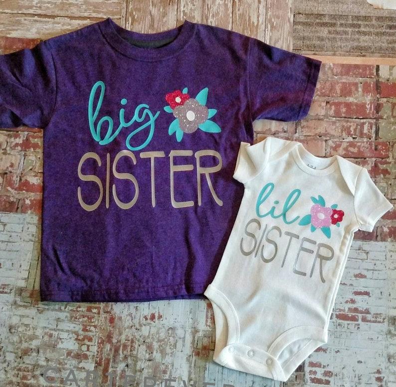 siblings shirts little sister shirt personalized shirt Big sister shirt matching shirts girls Monogram Shirts