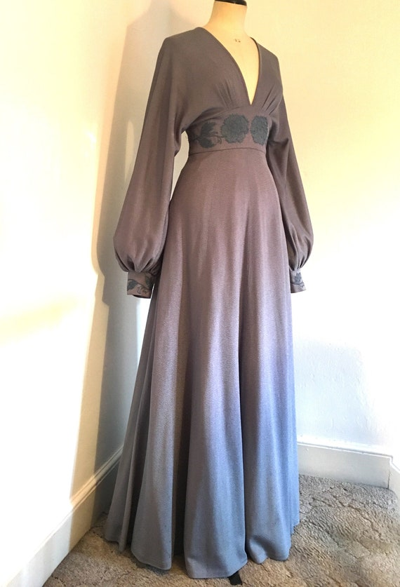 Glamorous 1970s Jean Varon maxi evening dress