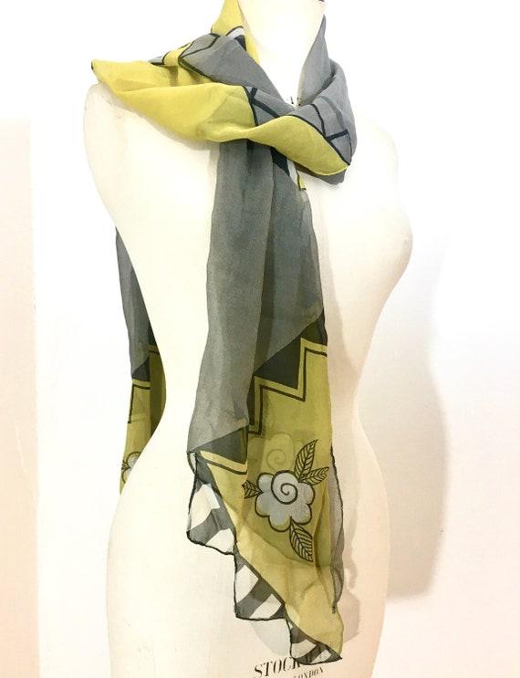 Celia Birtwell original 1970s long chiffon scarf