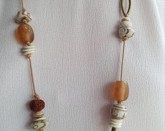Ethnic Indian glass necklace and earth color glazed glass