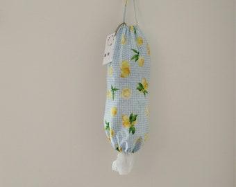 ADOPTION FUNDRAISER, Lemon Plastic Bag Holder, plastic bag dispenser, grocery bag holder, kitchen bag holder, kitchen bag storage, plastic