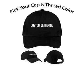 c90eef92ac2 Custom Lettering Dad Cap