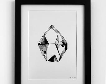 QUARTZ III Illustration A4 Print Black & White Line Drawing Rock Gem