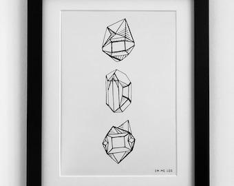 3 GEM Illustration A4 Print Black & White Line Drawing Rock Gem