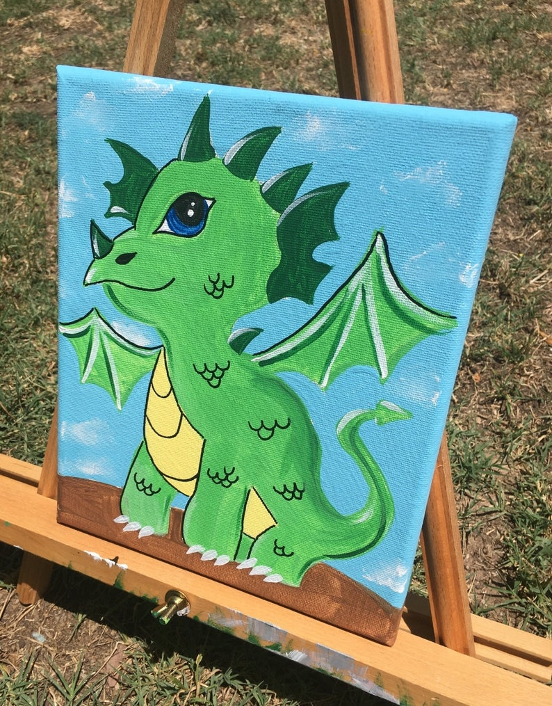 Jules The Dragon Kids Canvas Painting Lesson Download