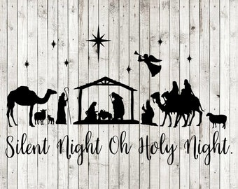 photo relating to Free Printable Silhouette of Nativity Scene known as Nativity scene svg Etsy