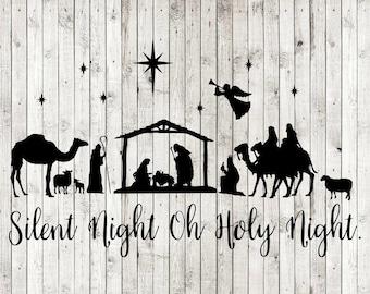 picture regarding Free Printable Silhouette of Nativity Scene identify Nativity scene svg Etsy