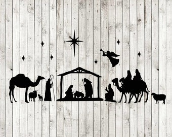 Nativity scene silent night oh holy night svg, jesus baby christmas svg, cut files for cricut silhouette, INSTANT DOWNLOAD