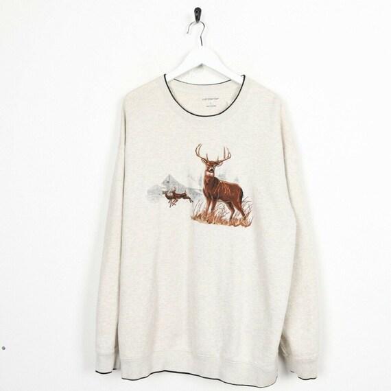 Vintage Deer Embroidered Sweatshirt beige