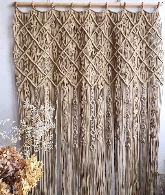 Macrame Curtain/ One or Two Panels Curtain/ Macrame Room Divider/ Boho  Macrame Curtain/ White WallHanging/Door Curtain