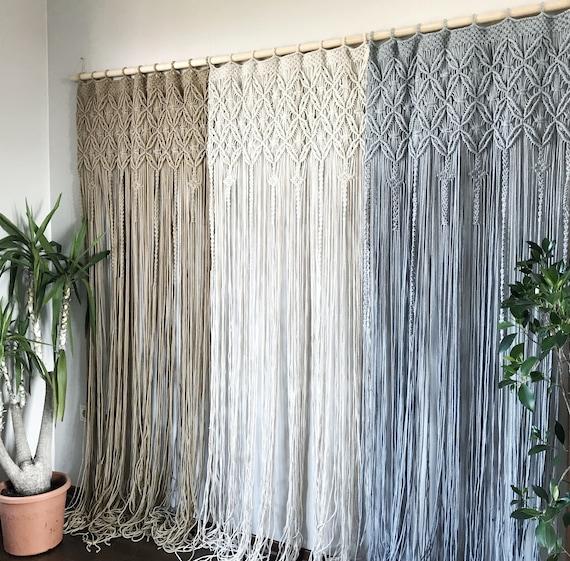 One or Two Panel Macrame Curtain/Macrame Room Divider/Macrame Window  Curtain/Boho Macrame Decor/ Bedroom Curtain/Door Curtain/Macrame Screen
