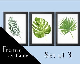Merveilleux Bathroom Wall Art.botanical Print Set.Home Print.Wall Print.monstera  Leaf.Framed Print.tropical Leaf.print.set Of Prints