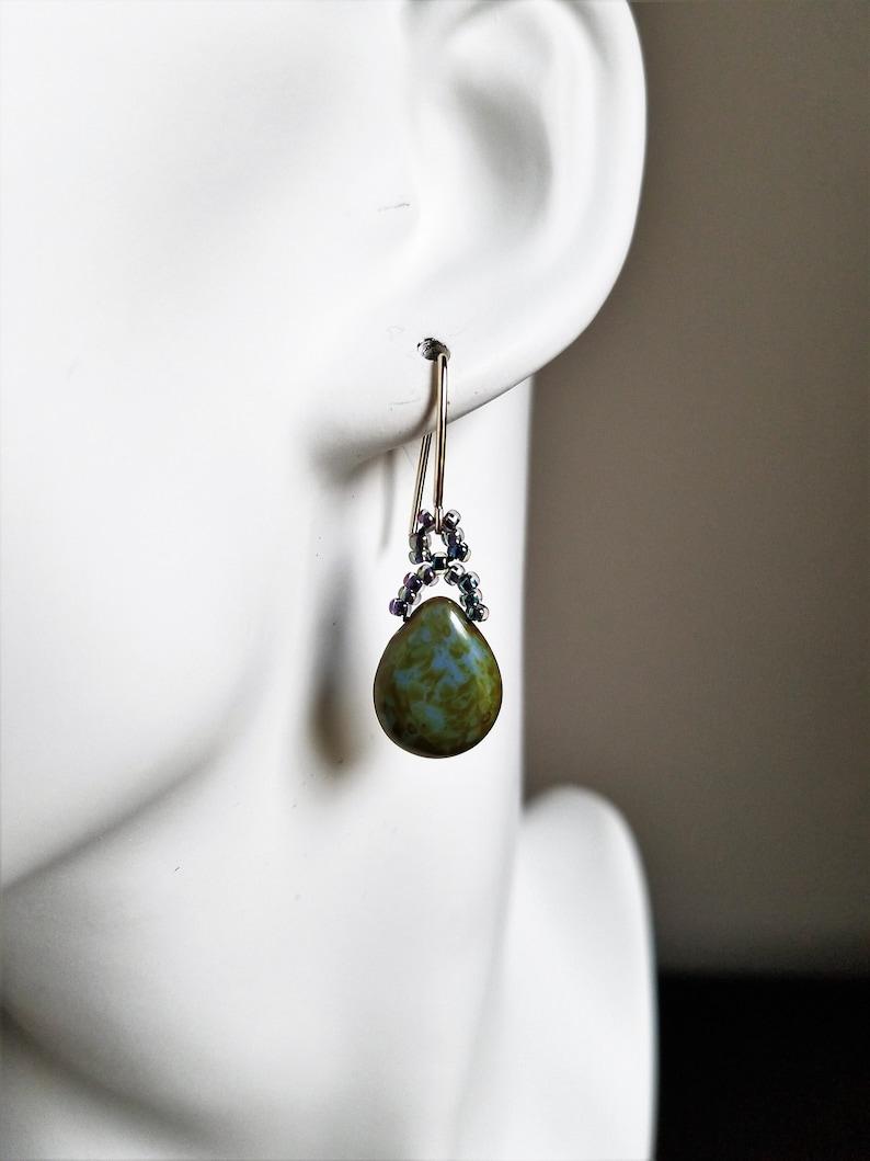 14k Gold Filled Earrings August Birthday Gift Long Green Earrings Handmade Earrings For Women Peridot Glass Teardrop Earrings