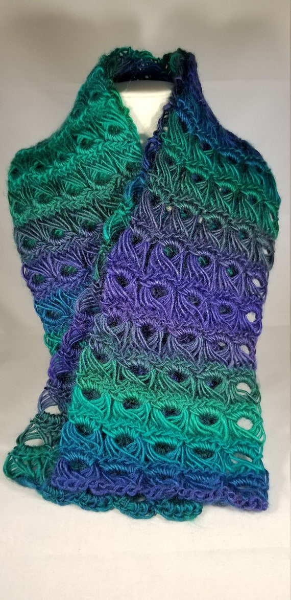 Purple Teal Broomstick Lace Scarf Womens Crochet Etsy