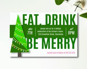 Be Merry Holiday Invitation   Editable PDF Template   Printable