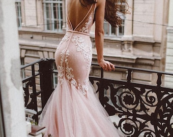 Pink blush lace wedding dress mermaid, fluffy removable tulle skirt mermaid, hand embroidery lace, deep v-back, lace deep v-neck, /Rosali