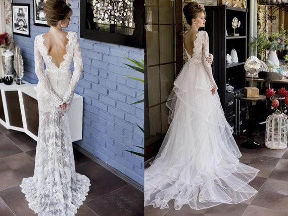 Elegant Lace Wedding Dress Transformer Long Sleeves Slinky Etsy