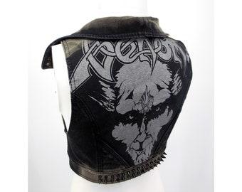 "XS - Venom "" Black Metal "" denim vest, handmade, one of a kind"