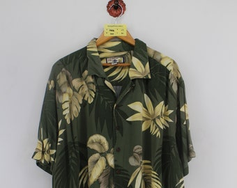 Vintage 90s CARIBBEAN Hawaiian Rayon Shirt Men XLarge Hawaii Floral Tropical Bamboo Tree Flower Abstract Aloha Beach Wear Button Up Size XL