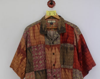 Vintage 90s HAWAIIAN Natural Issue Rayon Shirt Large Hawaii Floral Tropical Abstract Design Aloha Beach Summer Wear Buttondown Mens Size L