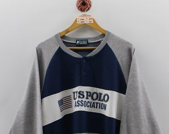 US POLO ASSOCIATION Pullover Jumper Unisex Large 1990 s Uspa Sportswear  Activewear Crewneck Sweatshirt Polo Streetwear Colorblock Size L 8486949058