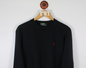 fd161df65fcde Vintage POLO RALPH LAUREN Pullover Sweater Unisex Small 90's Polo Spellout  Embroidery Streetwear Jumper Polo Sweatshirt Unisex Black Size S