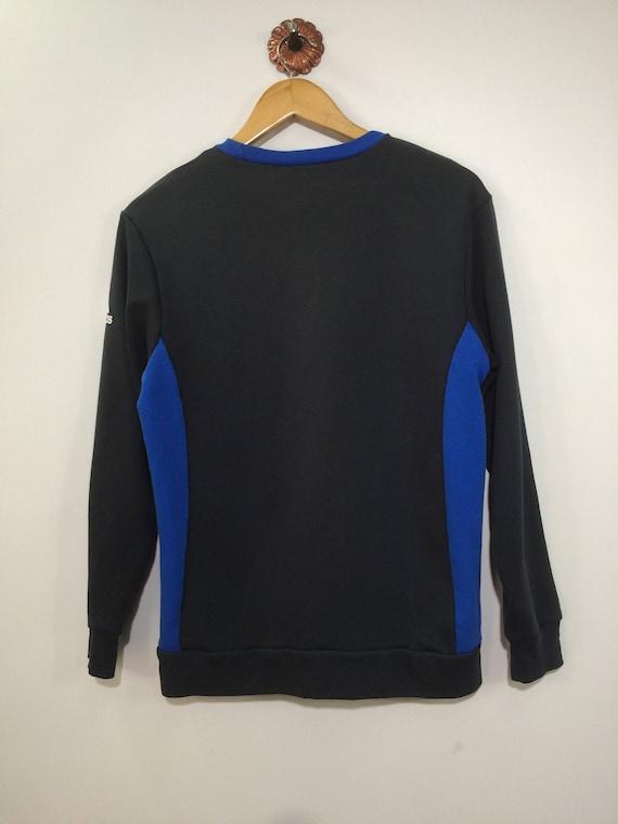 Vintage ADIDAS Sweatshirt Männer kleine 90er Adidas drei Streifen buchstabieren Crewneck Pullover Adidas Streifen blauen Pullover dunkel grauen