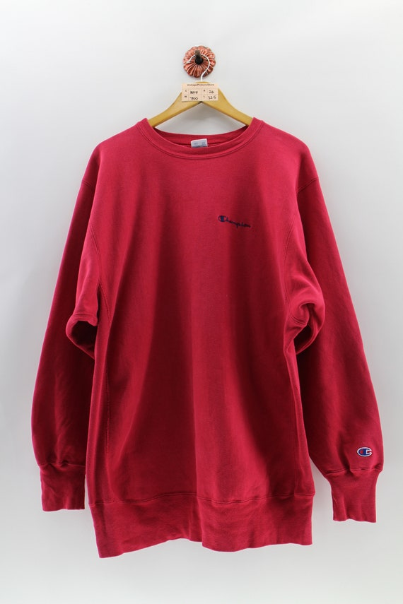 CHAMPION Reverse Weave Jumper Mens XXlarge Streetwear Vintage 80s Champion  Spell Out Sweaters Athletic Wear Maroon Sweatshirts Size XXL