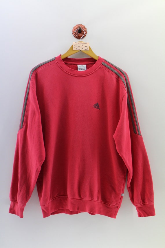 793036e150ccf Vintage 90's ADIDAS Sweatshirt Unisex Large Adidas Equipment Apparel  Crewneck Jumper Adidas Three Stripes Pullover Red Sweater Size L