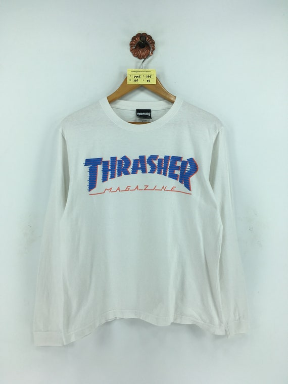 Thrasher Magazine Mag Logo Long Sleeve T-Shirt Tee White $30