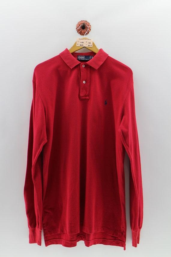 POLO RALPH LAUREN Polo Shirt Men Medium Vintage Polo Small Pony Long Sleeves Shirt Polo Sportswear Red Plain Shirt Men Size M