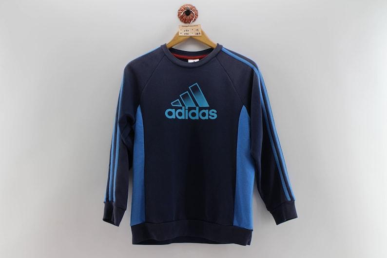 Vintage ADIDAS EQUIPMENT Damen große 90er Adidas Trainer großes Logo Crewneck Sweater Adidas Jaspo Navy Blau Damen Pullover Streifen Größe L