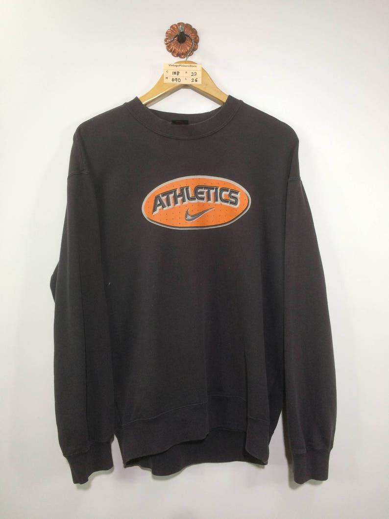 Vintage 90's NIKE Athletic Pullover Sweatshirt Mens Large Nike Swoosh Sportswear Nike Air Crewneck Sweater Mens Black Jumper Size L