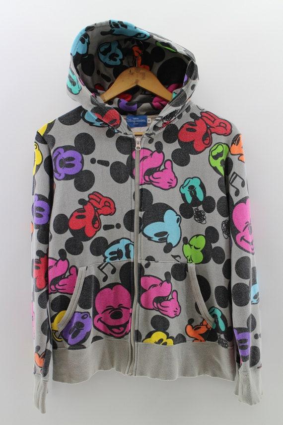 MICKEY MOUSE FullPrint Zipper Sweater Ladies Small
