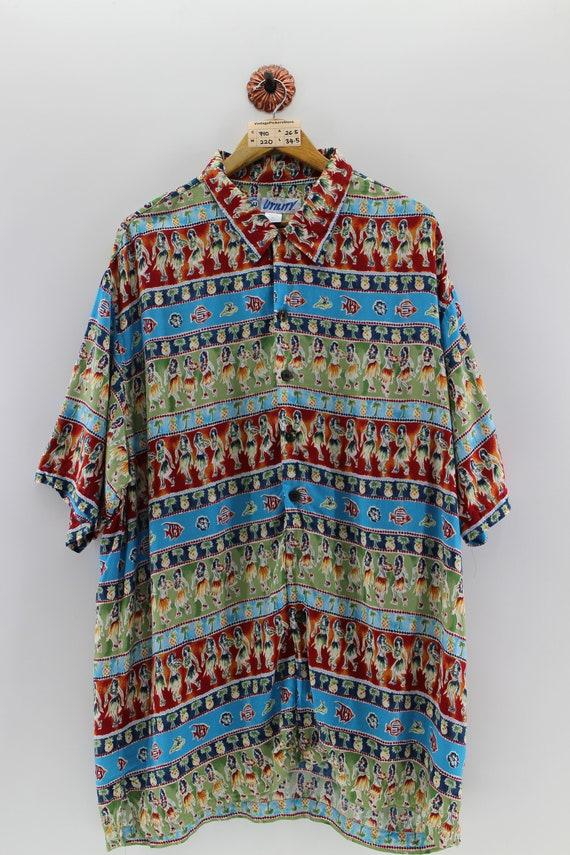 772112f0 HAWAIIAN Rayon Shirt Unisex Xlarge Hula Girl Dance Hawaiian | Etsy