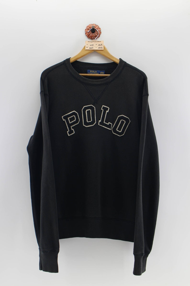 Unisex 90's Black Out Size Large Sweatshirt Spell Jumper Polo Lauren Embroidery Sweater Vintage L Ralph Pullover xodBCe