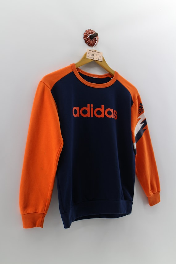 buying cheap best loved authorized site Vintage ADIDAS Sweatshirt Small Youth 90's Adidas Three Stripes Spell Out  Crewneck Sweater Adidas Orange/Blue Jumper Youth Size S