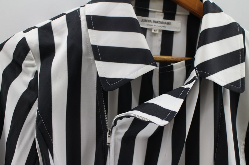 COMME DES GARCONS By Junya Watanabe Japanese Made Double Zipper Stripes Folded Top Junya Watanabe Cdg Executive Dress Size M